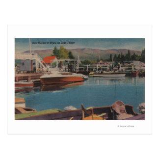 Cartão Postal Lake Tahoe, CA - porto do barco na joia de madeira