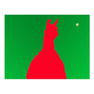Cartão Postal Lama do Natal: Lama no verde vermelho de w -