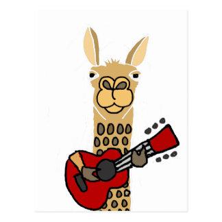 Cartão Postal Lama engraçado que joga a guitarra