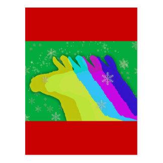 Cartão Postal Lamas do Natal com estrelas e floco de neve &