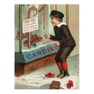Cartão Postal Lamba-me piada do natal vintage do humor do bastão