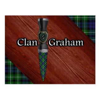 Cartão Postal Lâmina de Sgian Dubh do Tartan de Graham do clã