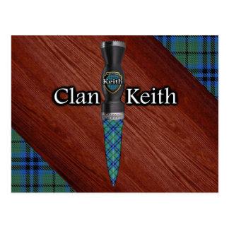 Cartão Postal Lâmina de Sgian Dubh do Tartan de Keith do clã
