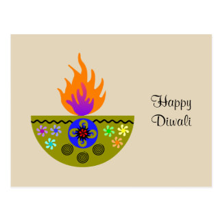 Cartão Postal Lâmpada colorida Diya de Diwali
