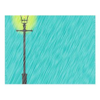 Cartão Postal Lamppost na chuva