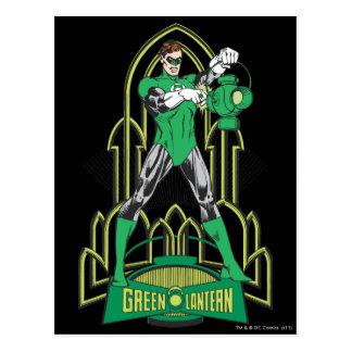Cartão Postal Lanterna verde com letras