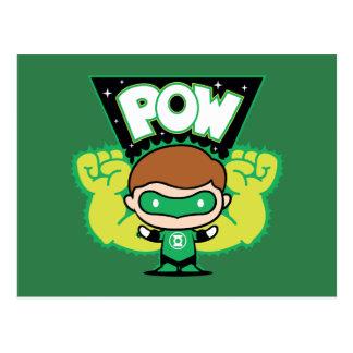 Cartão Postal Lanterna verde de Chibi que forma os punhos