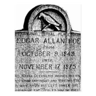 Cartão Postal Lápide de Edgar Allan Poe. Imagens assustadores do