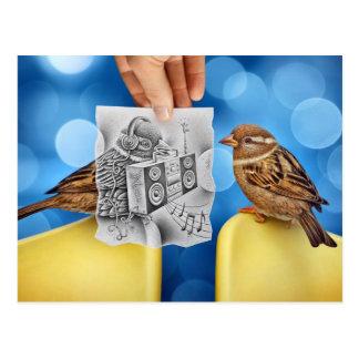 Cartão Postal Lápis contra a câmera - electro pássaro