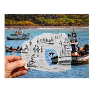 Cartão Postal Lápis contra a câmera - sereia