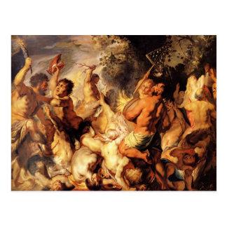Cartão Postal Lapiths e os centauros por Jacob Jordaens