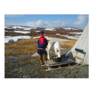 Cartão Postal Lapland, pagamento de Sámi com barraca e vaca