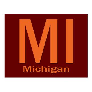 Cartão Postal Laranja lisa do MI Michigan