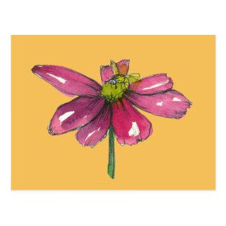 Cartão Postal Laranja roxa da margarida da ameixa da abelha do