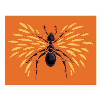 Cartão Postal Laranja voada da formiga impetuosamente
