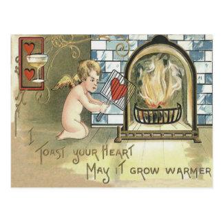 Cartão Postal Lareira do coração do brinde do Cupido