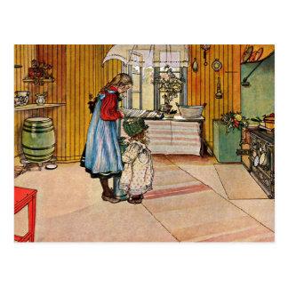Cartão Postal Larsson: A cozinha