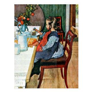 Cartão Postal Larsson: O pequeno almoço de um montante atrasado
