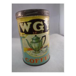 Cartão Postal Lata do café, lata do vintage WGY