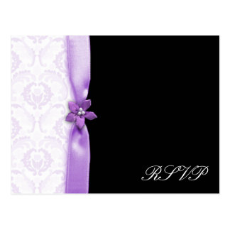 Cartão Postal Lavander & bloco preto do casamento tema damasco