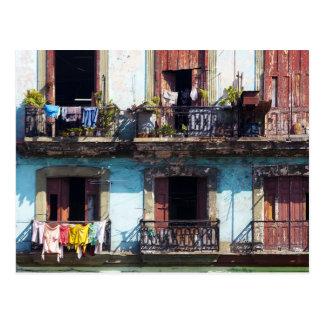Cartão Postal Lavanderia em balcões, Paseo del Prado, Cuba