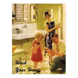 Cartão Postal Lave suas mãos