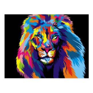 Cartão Postal Leão colorido