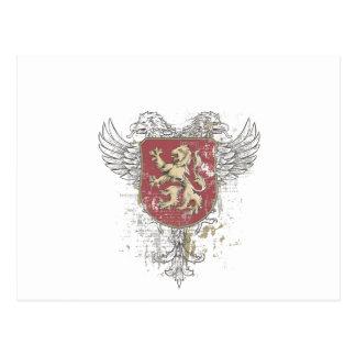 Cartão Postal leão da coroa e a marca