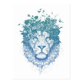 Cartão Postal Leão floral