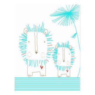 Cartão Postal Leão minimalista - Aqua e branco
