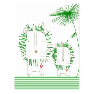 Cartão Postal Leão minimalista - verde