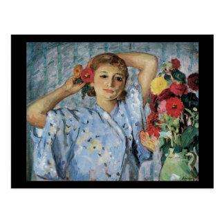 Cartão Postal Lebasque Jeune Femme Fleurs auxiliar
