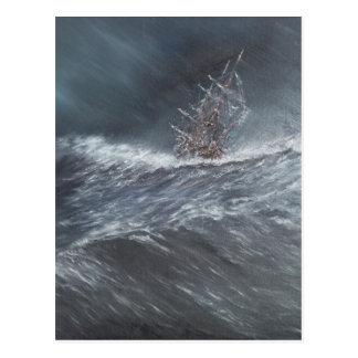 Cartão Postal Lebreiro do HMS em uma tempestade fora do chifre