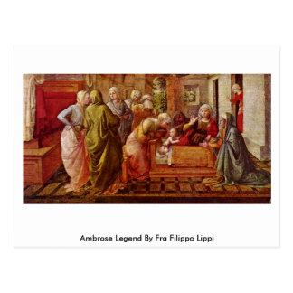 Cartão Postal Legenda de Ambrose por Fra Filippo Lippi