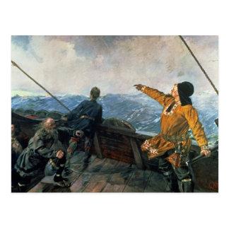 Cartão Postal Leif Eriksson observa a terra em América, 1893