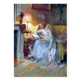 Cartão Postal Leitura da mulher pela pintura da antiguidade da