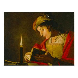 Cartão Postal Leitura do homem novo pela luz de vela