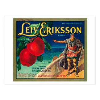 Cartão Postal Leiv Eriksson Apple etiqueta - a caxemira, WA