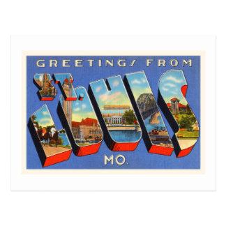Cartão Postal Lembrança velha das viagens vintage de St Louis