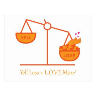 Cartão Postal Lembre-se gritar menos + L.O.V.E. Mais!