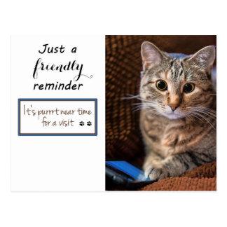 Cartão Postal Lembrete da nomeação do gatinho do telefone