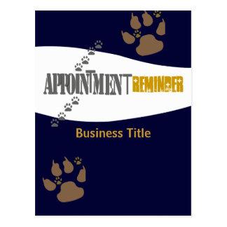 Cartão Postal Lembrete da nomeação dos cuidados animais do