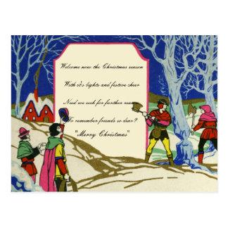 Cartão Postal Lenha de Robin Hood do Natal do Victorian do