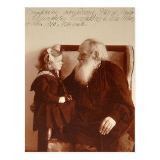 Cartão Postal Leon Tolstoy com sua neta, Tatiana
