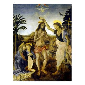 Cartão Postal Leonardo da Vinci o baptismo do cristo