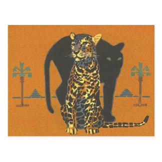 Cartão Postal Leopardo e pantera