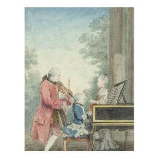 Cartão Postal Leopold Mozart e suas crianças Wolfgang