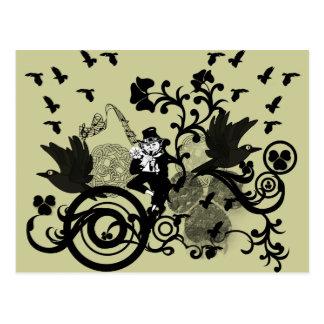Cartão Postal Leprechaun no preto