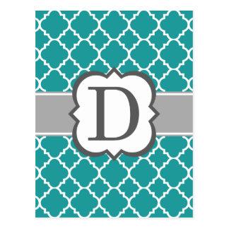 Cartão Postal Letra azul D Quatrefoil do monograma da cerceta