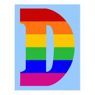 Cartão Postal Letra D do arco-íris